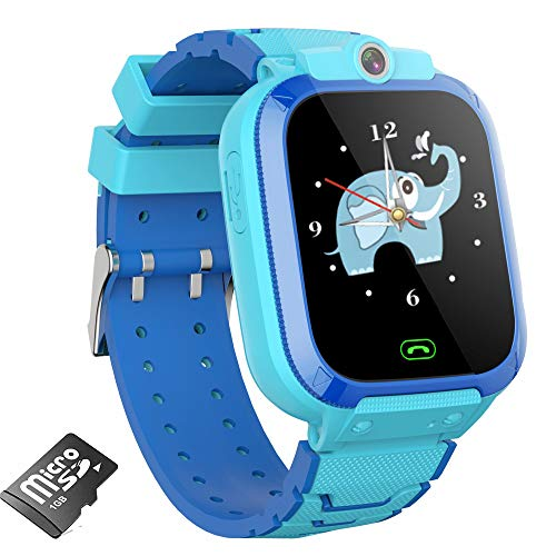 Reloj Inteligente para niños Reloj con cámara con Juegos, Reloj Inteligente para niños y niñas con cámara Video Reproductor de música Alarma Podómetro Reloj Juego para niños Inteligente (Azul)