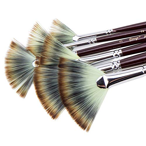 Cepillo de pintura 6pcs en abanico de nylon de pelo aguada de acuarela pintura del sistema de cepillo for la Escuela de Dibujo Pintura Pintura Material de bellas artes cepillo ( Color : Purple )