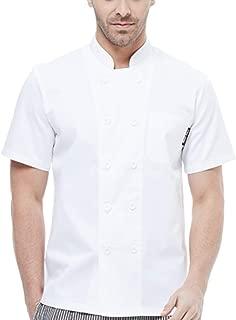 BOUPIUN Men's Summer Chef Jacket with Short Sleeve Cooking Waiter Uniform Hotel Kitchen Chef Working Coat 4 Colors S-3XL