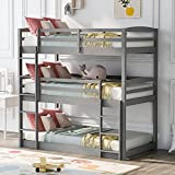 SURGICAL ONLINE Bed, Bunk Beds for Kids, Solid Wood Twin Triple Bunk Beds / Loft Bed for Kids/Adults, No Box Spring Needed