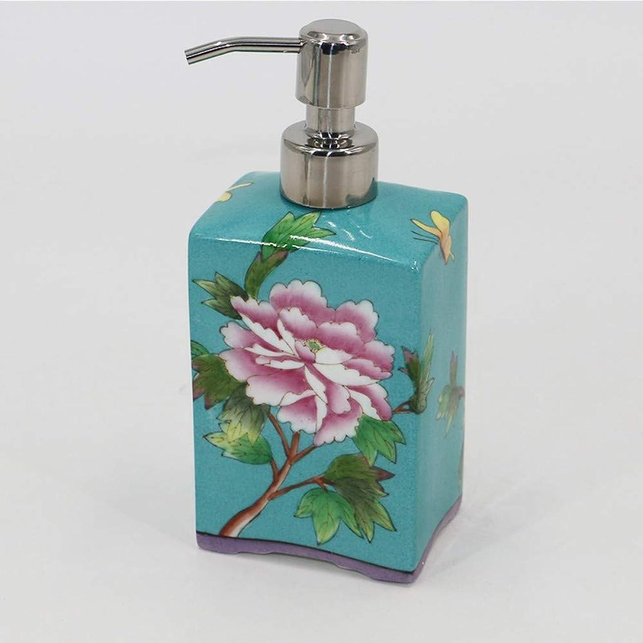 クロール全能祝う石鹸ディスペンサー/ハンドサニタイザーボトル中国の手塗りセラミック緑の葉とピンクの花ホテルの洗面台キッチン用液体ボトル充填ボトル