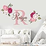 Name and Initial Peonies Wall Decal - Kids Wall Decor - WM131. Custom Name Removable Nursery Wall Decal for Girl - Flower Mural Wall Decal for Girls Bedroom