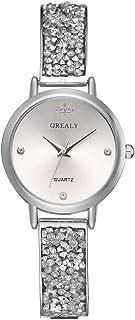 Stylish watch Women's Watch Quartz Wrist Watch with Round Dial Bling Bracelet Watch with Rhinestones Metal Strap for Elegant Female,A Watch