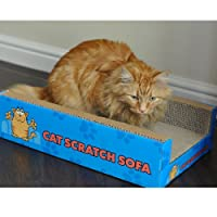 Product: Made from 100% Recycled Cardboard. | Each Cat Scratch Sofa includes a 6g bag of catnip that cats will go crazy for! Catnip Herbal Blend mix cats love! Measurements: Cat Sofa - Length: 50cm Width: 30cm Depth: 12cm | Refills: Side - Length: 48...