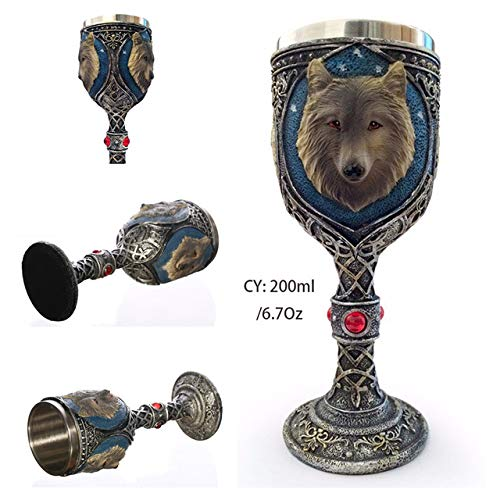Glasvezel roestvrij staal cup 200 ml glas wijn gotische schedel cocktailglazen Terrible Dropshipping drinken whisky bar,wolf koning