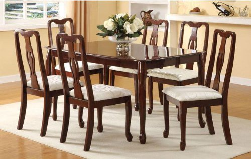 Poundex Dining Table Queen Anne Style in Dark Oak Finish