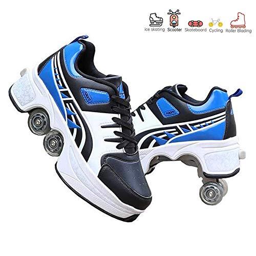 HealHeatersR Automatische Walking Schoenen Onzichtbare Rolschaats 2 in 1 Verwijderbare Pulley Skates Schaatsen Dubbele Rij Vervormen Wiel Pulley Schoenen Skates