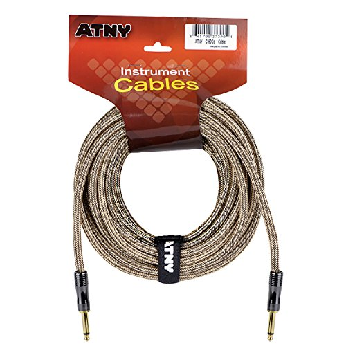 ATNY Braided Electric Guitar Cable – Professional Grade Musical Instrument Amplifier Cord with Nickel-Plated Dual Straight Plugs and Champagne Gold Tweed Jacket (50 Feet, Champagne Gold)