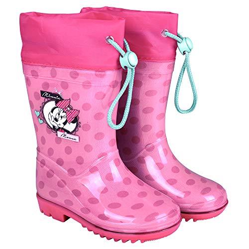 Botas de Agua Niñas Minnie Mouse - Botines Impermeables Infantiles Official Disney...