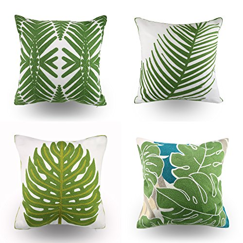 Hodeco Embroidery Throw Pillow Cover Green Leaf Plant Design for Sofa Decorative Cushion Cover 18x18 Inches(45cm), 4 Pieces