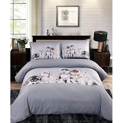 UniTendo Husky Puppies High Definition Digital Beddings Light Silver Gray 4-Piece Duvet Cover Sets 3D Bedding Sets, Queen Szie.
