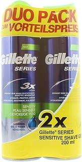 Gillette Series Rasiergel męski z aloesem do skóry wrażliwej i lepszego przesuwania się po skórze, 2 sztuki w opakowaniu (...