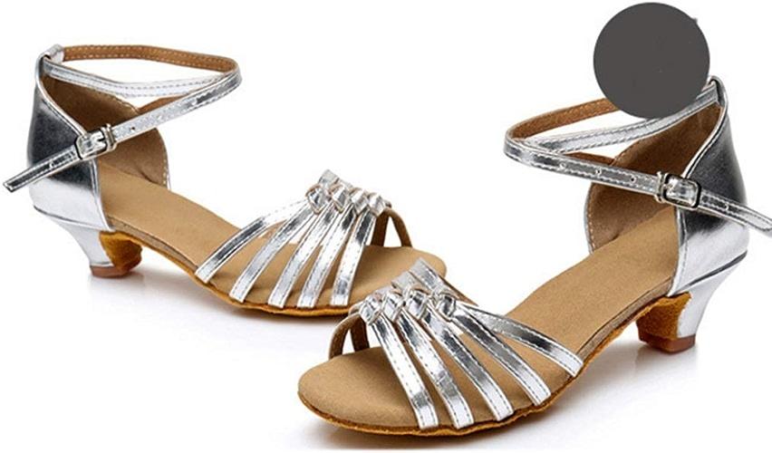 XIE66 Chaussures de Jazz Nouvelles Filles nouées Chaussures de Danse Latine Souples de 4,5 cm à mi-Talon (Couleur   A5, Taille   40)