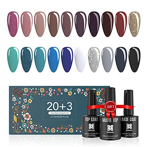 Esmalte de uñas de gel Delanie 20PCS Juego de esmalte de uñas de gel UV, 1 capa base y 2 capas superiores para uso doméstico y salón...