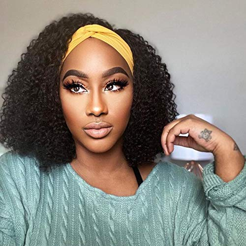 "Headband Wig Human Hair Glueless Black Human Hair Wigs for Black Women Deep Curly Headband Wig Brazilian Virgin Remy (14"",150% density,natural color)"