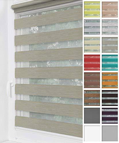 Home-Vision® Duo Rollo Klemmfix, Doppelrollo ohne Bohren mit Klämmträgern, Rollos für Fenster und Türen (Creme-Melange, B70cm x H150cm)
