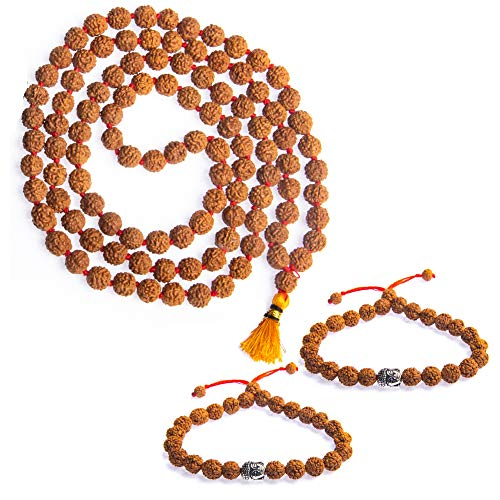 Wonder Care Authentic Rudraksh Mala-5face- Genuine Himalayan Rudraksha Seeds Religious Ornament Rosary Japa Mala Necklace - Imported from Nepal