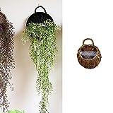 Lembeauty - Cesta de mimbre hecha a mano para colgar en la pared, macetas de vino, jarrón para decoración del hogar, boda, fiesta