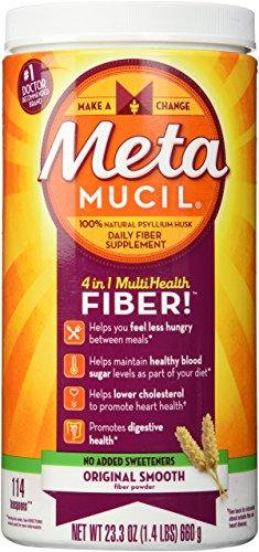 Metamucil Fiber Supplement, Original Smooth Psyllium Husk Powder, Sugar-Free and Unflavored, 23.3 oz