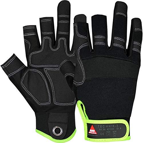 Hase Safety Gloves Technik 3-Finger Mechaniker-Handschuhe, Abriebfeste Arbeitshandschuhe mit Klettverschluss Größe L (09)