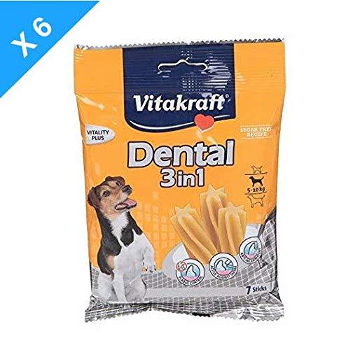 Vitakraft Dental 3 in1 - Cura Dentale di Snack per Cani di 5-10 kg – 6 conf. x 7 Sticks
