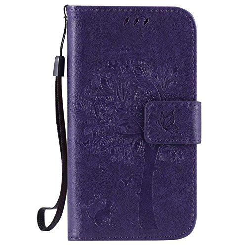 Guran Custodia in Pelle per Samsung Galaxy Core Prime G360 Smartphone Avere Carta Slot Supporto Protettiva Flip Case Cover-Porpora