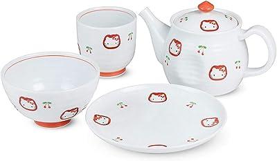 シートゥーシー ジャパン CtoC JAPAN ハローキティ チェリー 食器セット/ポット 17.3×9.3×10.8cm 茶碗:φ10.7cm 湯呑み:φ7.4×7.3cm 皿:φ15.2cm 有田焼 日本製 525332 ホワイト レッド