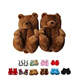 Alayger Women Plush Teddy Bear Slippers Home Indoor Soft Anti-Slip Faux Fur Cute Slippers Winter Warm Shoes Cartoon Floor US 6-9