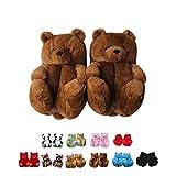 teddy bear slippers - Alayger Women Plush Teddy Bear Slippers Home Indoor Soft Anti-Slip Faux Fur Cute Slippers Winter Warm Shoes Cartoon Floor US 6-9 Dark Brown