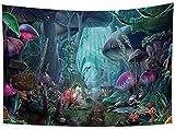 Yhjdcc Hermoso tapiz de bosque de hadas, diseño de setas, con flores, abstracto, digital, para colgar en la pared, sala de estar, dormitorio, decoración de dormitorio, 150 cm x 200 cm