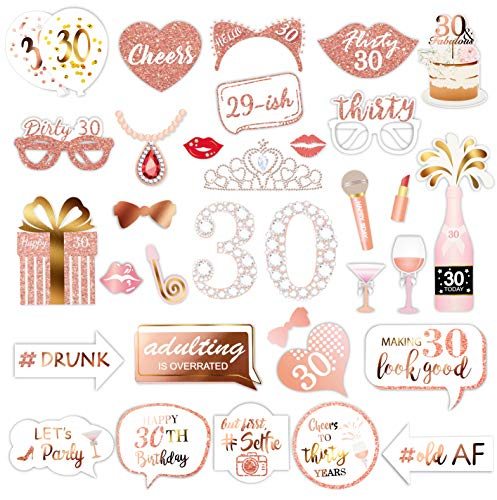 Rose Gold 30 Birthday Photo Booth Kit(32count),Konsait Funny Chic 30th Birthday Dirty Thirty Props with Sticks for Girls women 30 ROCK Thirtieth Happy Birthday Party Favors Supplies Bday Party Decorat