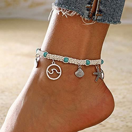 Sethain Boho Knöchel Armbänder Silber Türkis Fußkette Anhänger Fuß Schmuck Böhmischen Fußketten für Frauen und Mädchen
