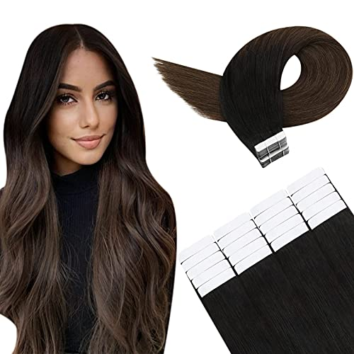 YoungSee Ombre Tape in Extensions Schwarz Remy Skin Weft Tape in Kleber Extensions Echthaar Seamless Glue Tape in Echthaar Extensions Schwarz bis Dunkelbraun 50g 20 Pcs 40 cm