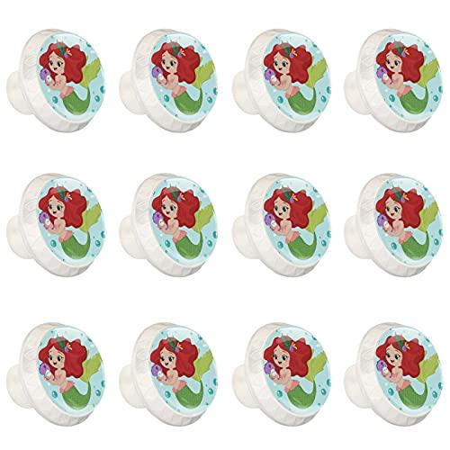 Cute Little Fish - Juego de 12 pomos redondos de cristal para cajones de cocina con tornillos, para cocina, aparador, armario, baño, armario, 12 unidades
