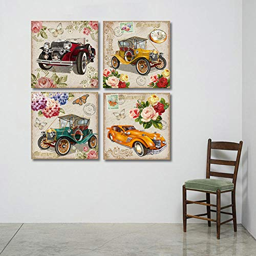 WADPJ Vintage ansichtkaart met retro auto bloemen canvas schilderij afdrukken muurkunst schilderijen bars woonkamer wooncultuur 30 x 30 cmx4 stuks geen lijst