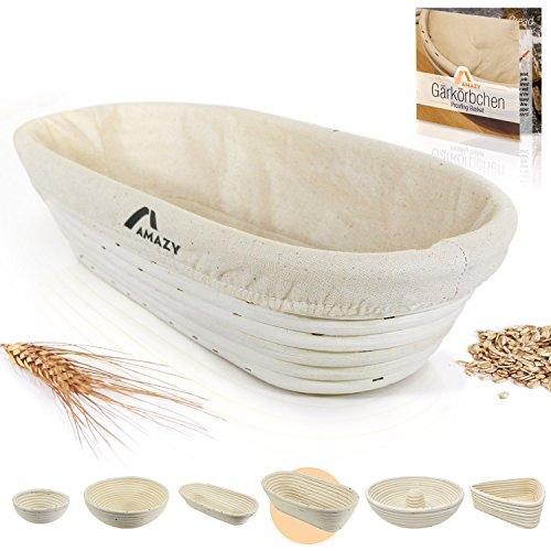 Amazy Banneton para pan – La ideal cesta para masa y fermentación de pan de mimbre natural (oval | ∅ 35 cm)