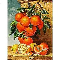 5D DIY ダイヤモンド塗装キットフルダイヤモンドラウンドラインストーン刺繍家の壁の装飾フルーツオレンジ 30 × 40 センチメートル