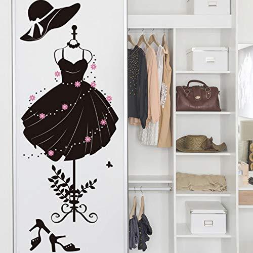 ERQINGQT Etiqueta De La Pared Vestido Formal De La Muchacha del Color Negro Etiqueta De La Pared Vinilo DIY Decoración De La Pared para El Armario Sala De Estar Tienda De Ropa Decoración
