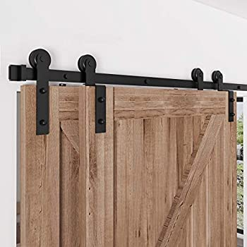 ZEKOO 4 FT- 12 FT Bypass Sliding Barn Door Hardware Kit Single Track Double Wooden Doors Use Flat Track Roller One-Piece Rail Low Ceiling  6FT Single Track Bypass