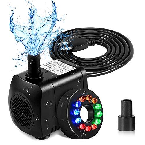 SunTop Mini Aomba de Agua con Leds, Bomba Sumergible con 12 Luz de LED Colorido, 220V,15W,800L/H, H Altura 1.6M/Aguas Limpias Bombeo para el Acuario,Estanque Hidropónico,Fuente,Estanque