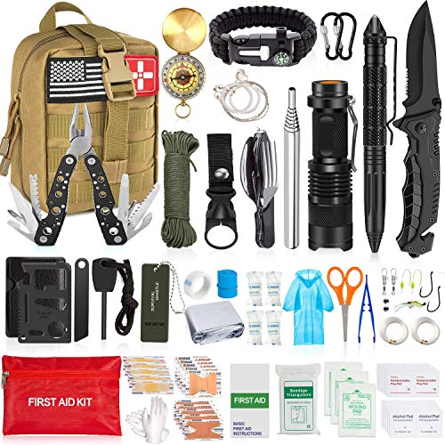 Aokiwo 126Pcs Emergency Survival Kit and First Aid Kit, Professional SOS Emergency Survival Gear...