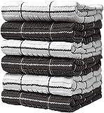Bumble Towels 6-er Pack Set Küchenhandtücher mit Fensterscheibenmuster / 40 x 66 cm/Kuschelig Weich und Dick 100% Ringgesponnene Baumwolle/Verschiedene Handtücher Garngefärbt/Luxus-Handtücher (Grau)
