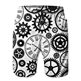Jiger Men Beach Shorts Clocks Watches Parts Swim Trunks Boardshort Pants with PocketsM