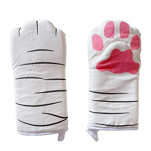 1Pair Heat Resistant Gloves -Cartoon Cat Paw Oven Mitts, Cotton Baking Insulation Gloves for Microwave and Kitchen