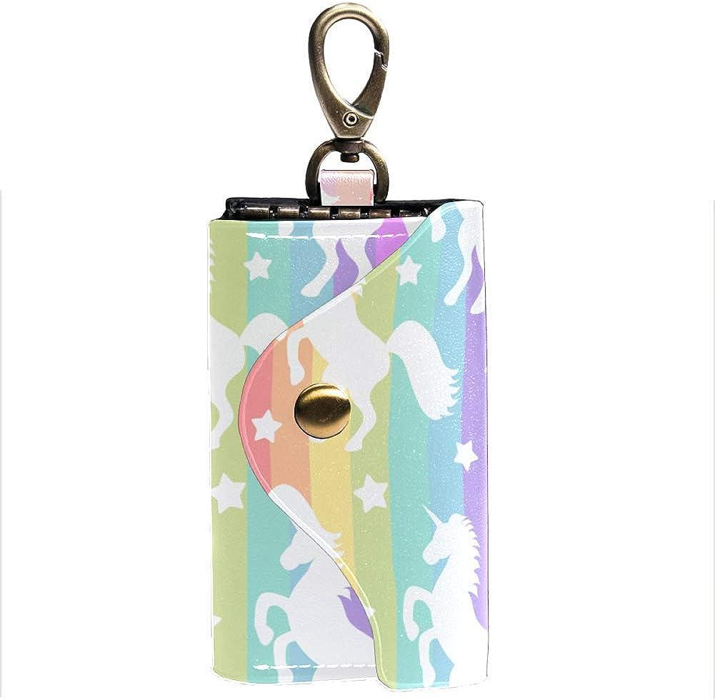Rainbow Unicorn Women Men Outlet sale feature Leather Mail order cheap Car Holder Chain Card Mon Key