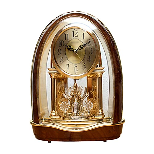 hkwshop Reloj de Escritorio Reloj de Mesa Reloj Americano Sala de Estar clásica Europea Reloj silencioso Rotación Reloj Retro Adornos de Cristal Reloj de Mesa
