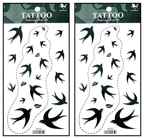 Tattoos 2 Sheets Black Bird Dove Fly Temporary Fake Tattoos Fantasy Fashion Women Sexy Body Painting Tatoo Sticker for Kid Teens Men Women