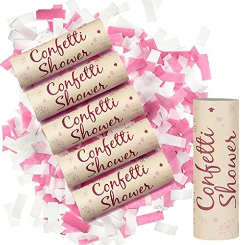 WeddingTree Canon Confettis sans Bang - 6 x Confettis Mariage - Fête Colorée avec le Canon a Confettis - Lanceur Confettis Mariage