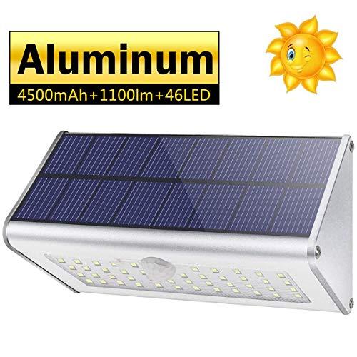 CAIYUE Solarlamp Buitenwandlamp- IP65 Waterdicht 4500mAh 46 LED Aluminium bewegingssensor Geschikt voor, binnenplaats, tuin, veranda, hek (Wit licht)