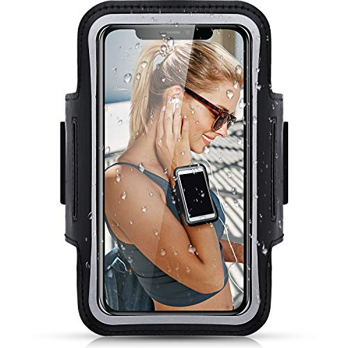Brazalete de Correr Deportivo Resistente al Sudor Compatible con iPhone XS/XR/X/8/7/6s/6/SE2, Galaxy S10/S9/S8/A41 hasta 6,1 Pulgadas, Funda de Brazo de Móvil con Llavero y Correa Ajustable (Negro)